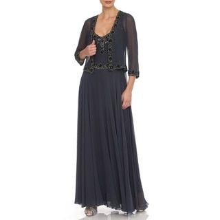 J Laxmi Women's Grey Beaded Chiffon Jacket Dress - 18147634 - Overstock.com Shopping - Top Rated J Laxmi Evening & Formal Dresses