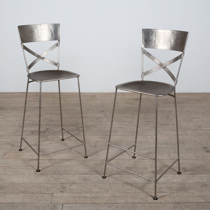 Kitchen Stools Malta: Handmade Set Of 2 Antique Nickel Jabalpur Bar Stool (India