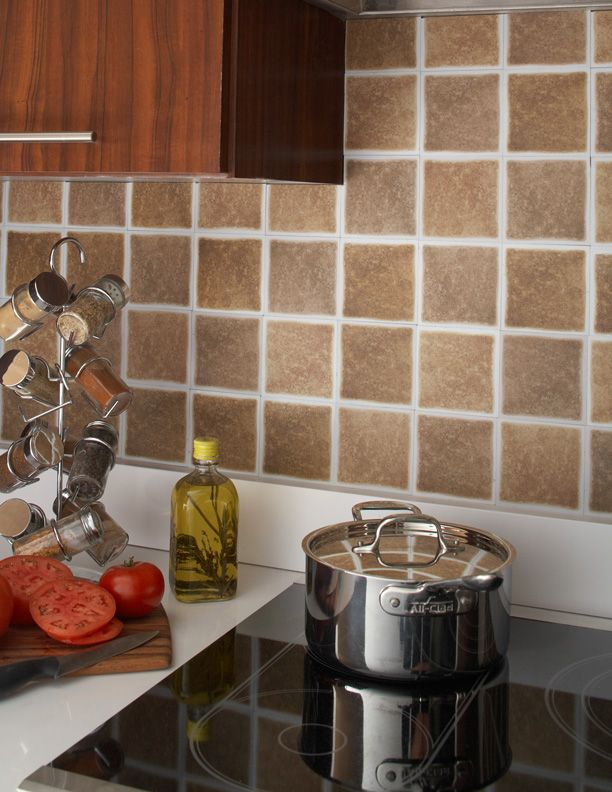 Sandstorm self stick backsplash tiles easy way to for Kitchen without tiles