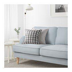 STOCKSUND Sofa, Remvallen blue/white, light brown/wood - Remvallen blue/white - light brown - IKEA