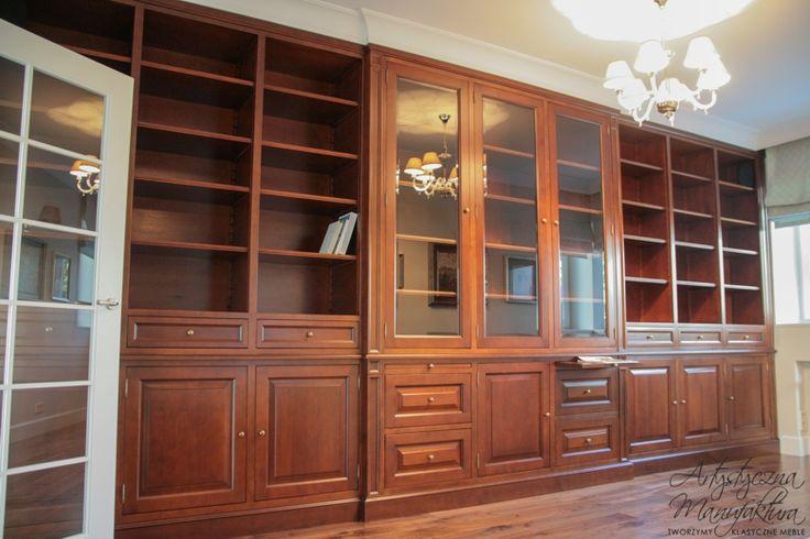 biblioteka angielska klasyczna z olchy, traditional home bookcases cabinets, home office  - wykonanie Artystyczna Manufaktura