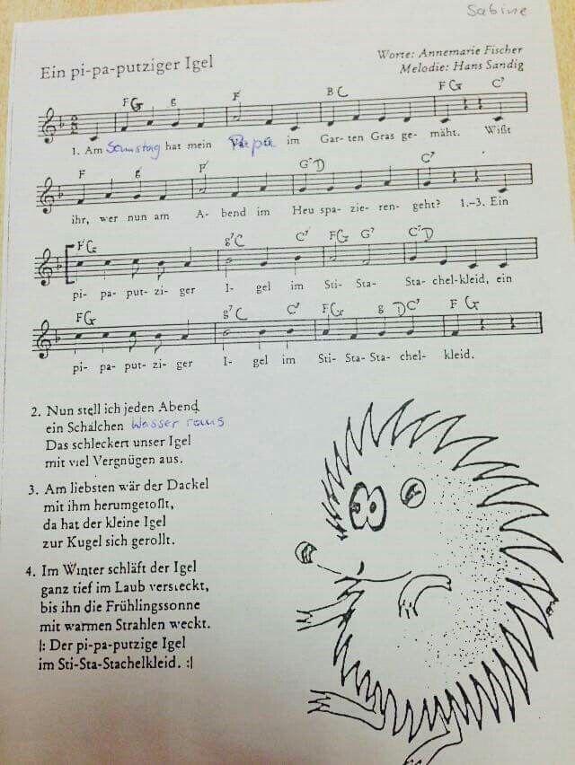 Ein pi-pa-putziger Igel #lied #kindergarten #kita #musik #kinderlied #singen #erzieherin #gitarrenakkorde #musikalischeerziehung #herbst #herbstlied #noten
