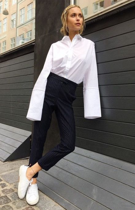 White shirt with oversize cuffs, skinny pinstripe trousers & trainers | Pernille Teisbaek | @styleminimalism