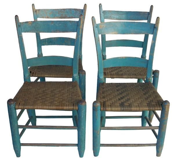 Set Of Four Matching Shenandoah Valley Virginia Slatback Chairs, With  Original Blue Paint, Split