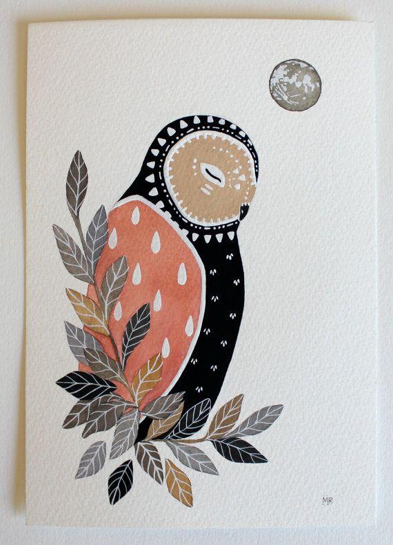 Chouette Illustration peinture - Chouette chevêche Luna - aquarelle Art - Archiv par Marisa Redondo