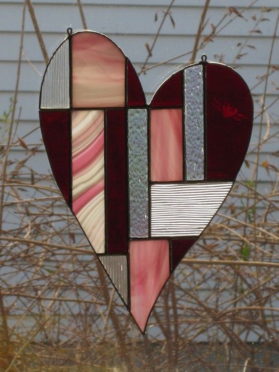 Wild Heart Stained Glass Suncatcher. Need two for my small windows beside the front door.