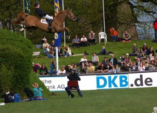 Yikes! Most horses wouldn't go down this steep of a bank.  The few brave, bold ones will bound/slide down it.  Then there's Ben Maher's horse...