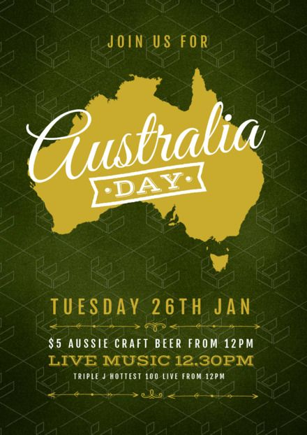 Australia Day Templates, DIY Design, Australia Day Posters and Flyers - Map design