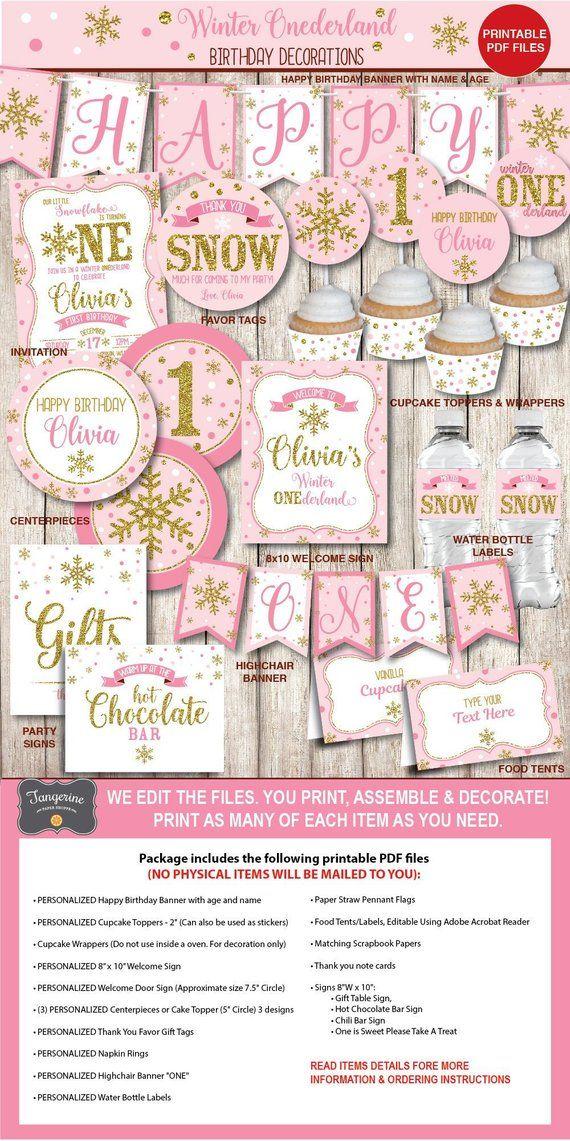 Winter ONEderland Decorations Wonderland Girl Pink Gold First Birthday Decorati