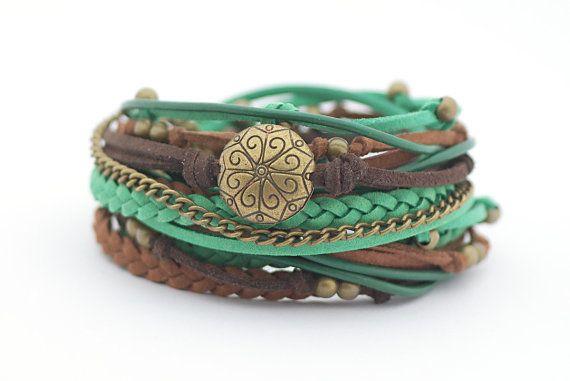 Emerald Chocolate Brown Wrap Bracelet Bohemian by cardioceras
