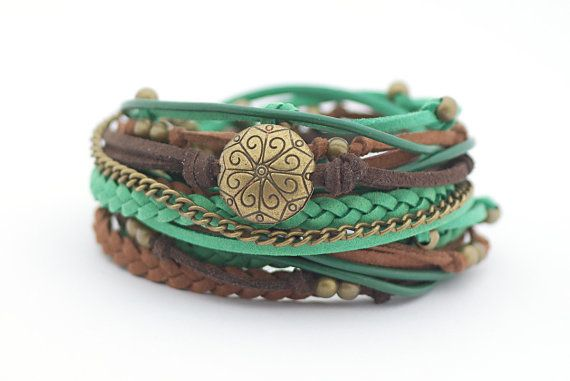 Emerald Chocolate Brown Wrap Bracelet Bohemian by cardioceras