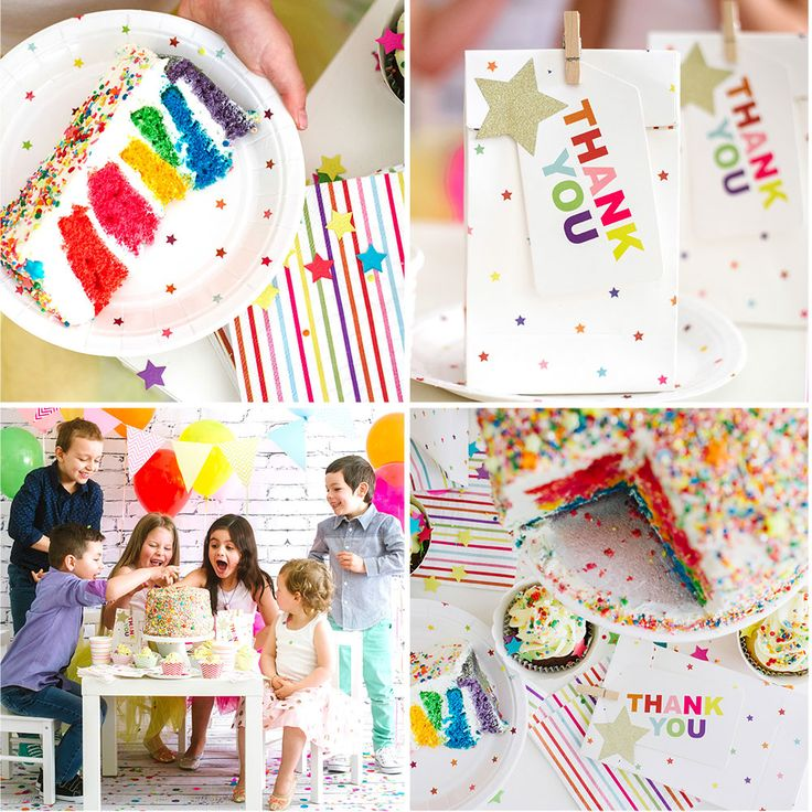 Rainbow Partyware. Range includes dessert plates, cups, napkins, treat bags, thank you tags, stickers seals and bunting. By Illume Partyware.