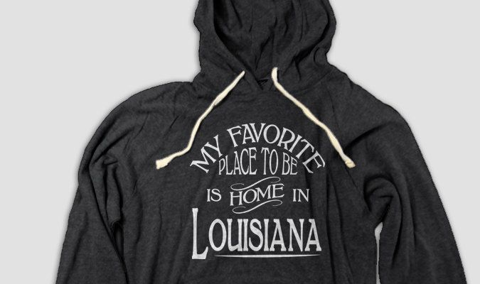 Louisiana Home Hooded Tee with Pockets, My Favorite Place To Be Is Home In Louisiana (S M L XL 2XL) by AspieTees on Etsy