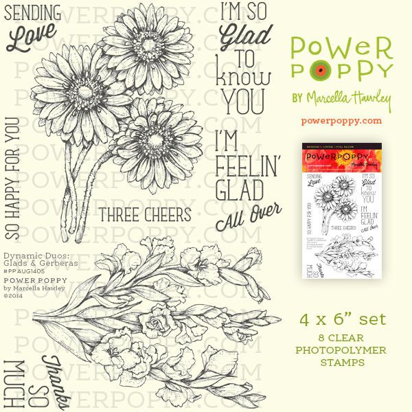 Dynamic Duos: Glads and Gerberas Stamp Set from Power Poppy by Marcella Hawley