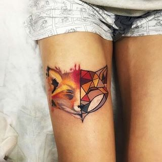 A half-geometric, half-watercolor fox. | 17 Creative And Beautiful Leg Tattoos That'll Inspire You