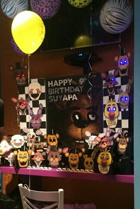FNAF party photo backdrop and photo props with treat boxes displayed in front
