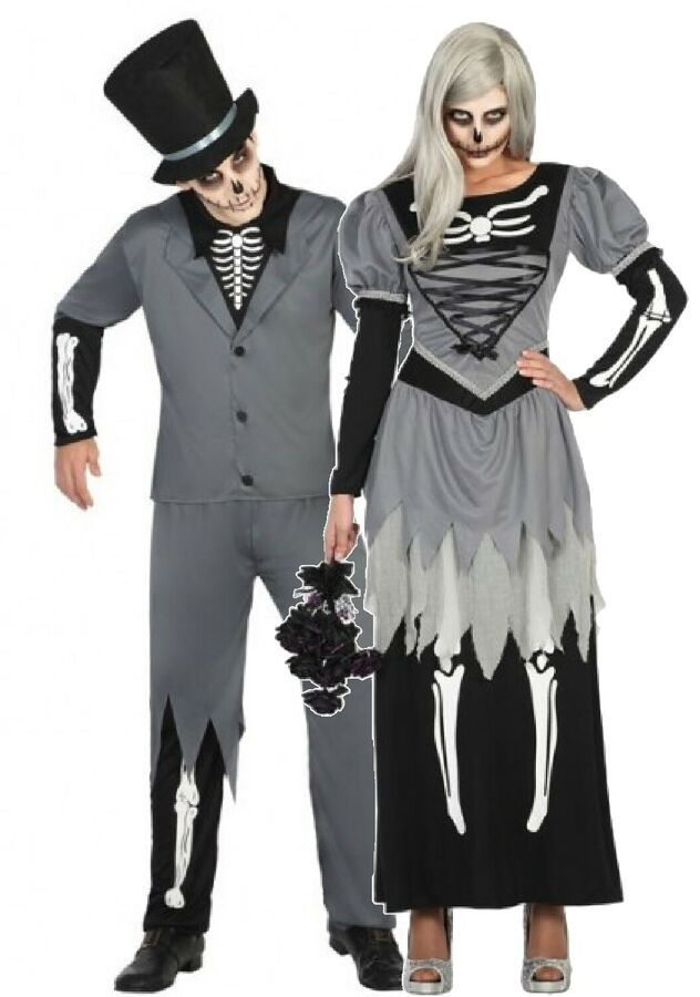 Ladies Mens Corpse Bride and Zombie Groom Halloween Fancy Dress Costume Couples