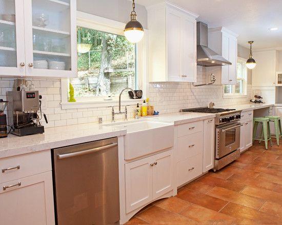 Beautiful Modern Kitchen with Terracotta Colored Tile Flooring : Astonishing Piedmont Kitchen Design Modern Glass Cupbaord Door