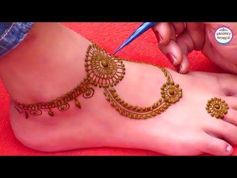 Latest Ornamental Mehndi Designs | Simple Mehndi Designs For Leg | Arabic Henna by Jyoti Sachdeva - YouTube