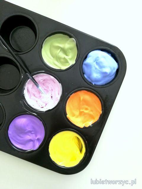 """Przepis na puchnącą farbę (tzw. """"puffy paint"""") !!!  #farba #paint #puchnącafarba #puffypaint #farbazpiankidogolenia #piankadogolenia #shavingcream #diy #zróbtosam #przepis #recipe #sposóbwykonania #instrukcja #instruction #krokpokroku #craft #crafts #kidscraft #kidscrafts #poradnik #tutorial #handmade"""
