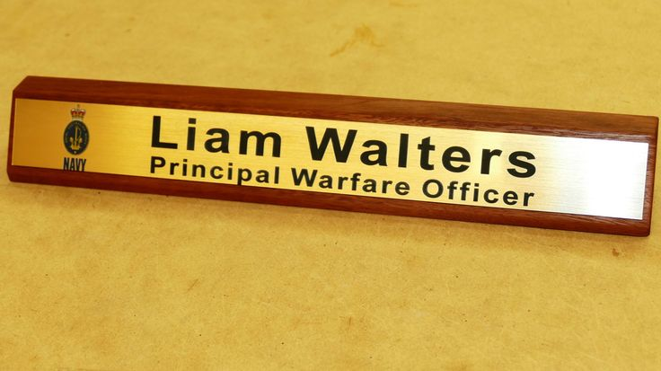 Wooden desk sign with custom engraved gold plate Choose from various styles and enter details for layout to be prepared for your approval