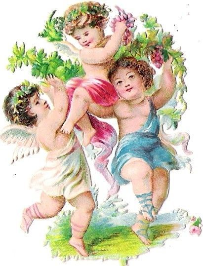 Oblaten Glanzbild scrap die cut chromo Engel angel Amor cupid Obst Frucht fruit