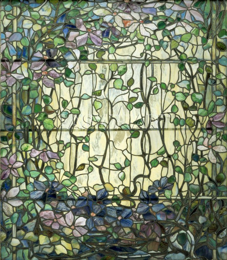 Louis+Comfort+Tiffany+Stained+Glass | Stained Glass with Clematis, c.1900 - Louis Comfort Tiffany Prints ...