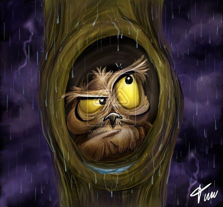 Owl at rain by timwell.deviantart.com on @deviantART