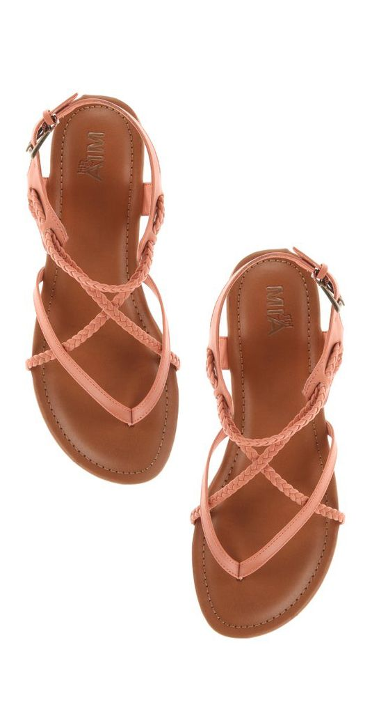 Coral braided sandals
