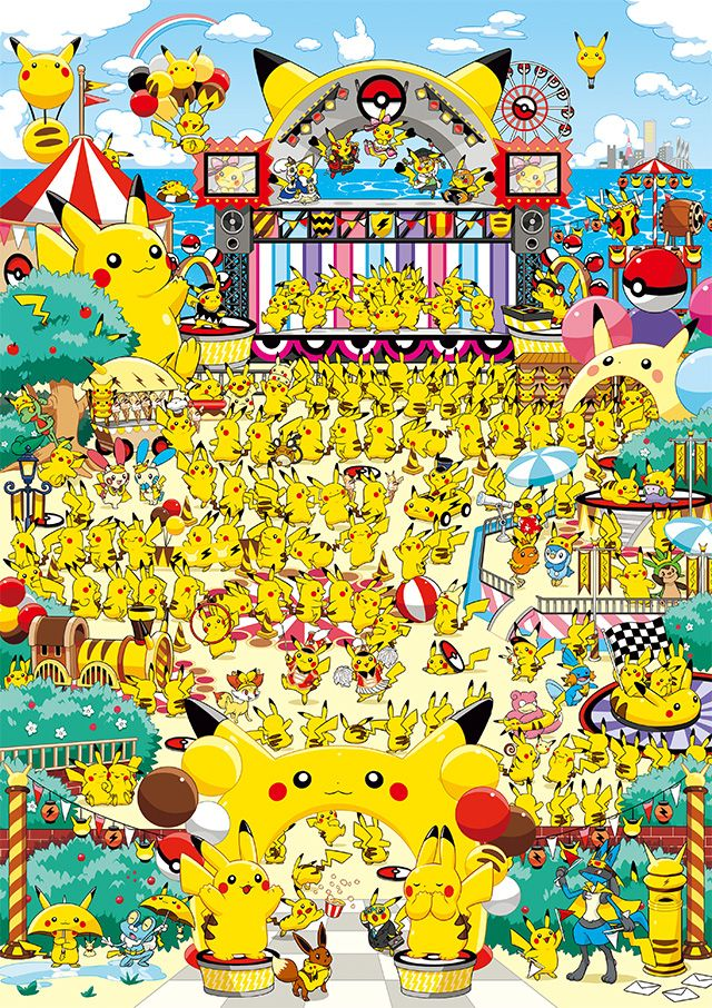 ピカチュウたちがい~っぱい集まって、お祭りに大騒ぎなイラストのグッズが、ポケモンセンターに登場!  ポケットモンスターオフィシャルサイト