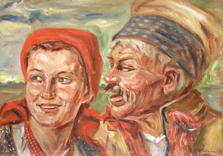 Wincenty WODZINOWSKI,Chłopska para , olej, tektura, 34,5 x 49 cm