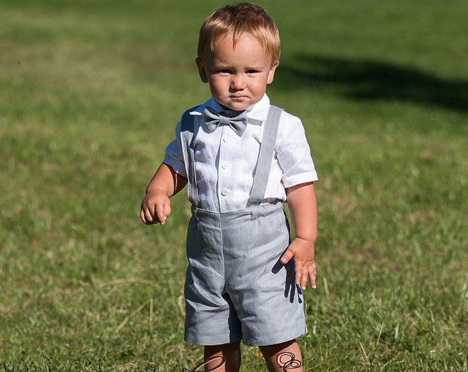 Boy shorts con tirantes anillo portador traje niño traje lino primer cumpleaños ropa bautismo guardapolvos del bebé cubierta de pañal programar mamelucos luz gris