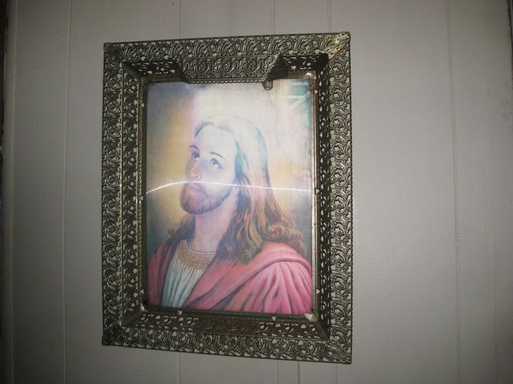 Jesus and Last Supper... Antique...Lighted Hologram Picture in Metal Frame