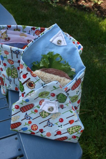 A simple reusable cloth sandwich holder - save tones of money not buying plastic baggies and feel better knowing you are helping the environment. Great patterns also make the bags much more exciting for your little ones.
