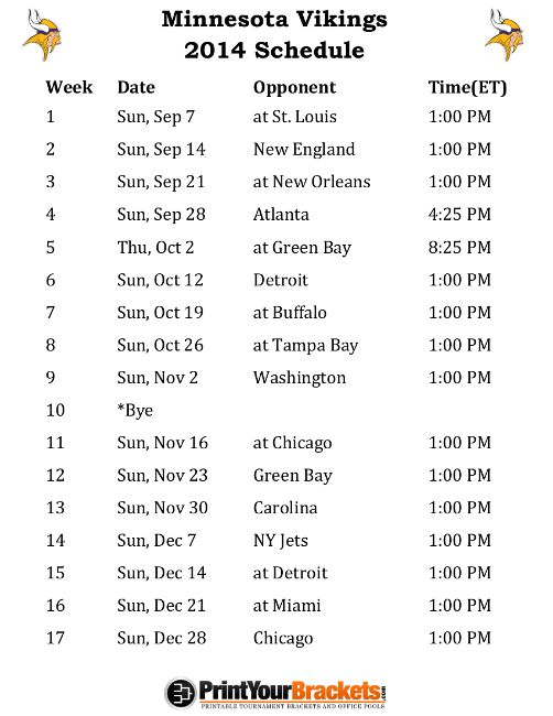 Printable Minnesota Vikings Schedule - 2014 Football Season
