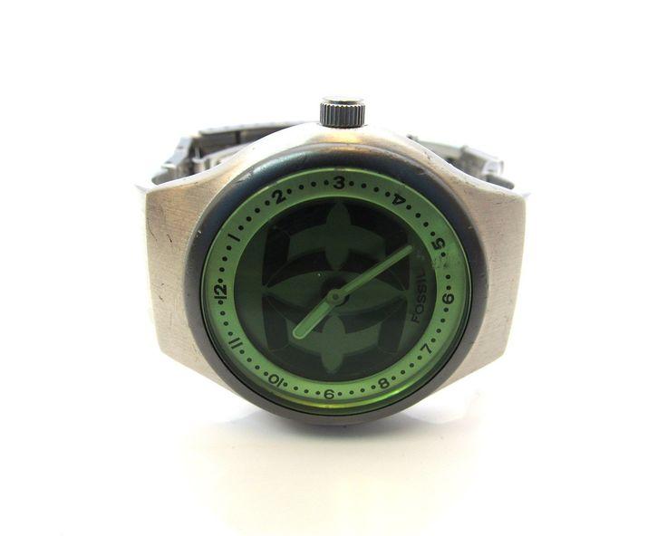 Fossil Big Tic JR-7859 Green Digital Analog Watch RUNS #2148