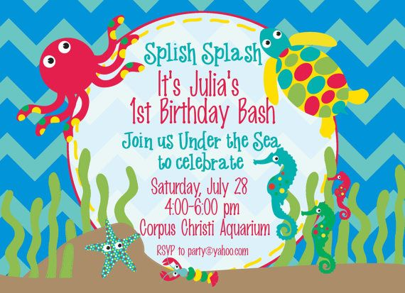 162 best images about Fish birthday party – Ocean Party Invitations