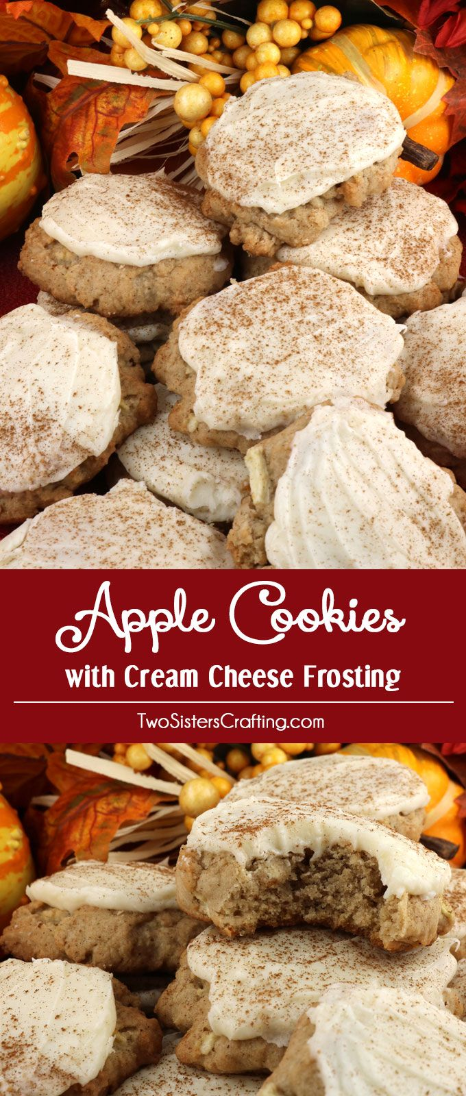 Apple Cookies with Cream Cheese Frosting are the perfect Fall Cookies and a wonderful choice for a Christmas Cookie Exchange. This cookie tastes just like Apple Pie which makes it a great Thanksgiving Dessert idea. And with the delicious frosting they will look beautiful on your Christmas Dessert Table. Pin this delicious cookie recipe for later and follow us for more great Christmas Food ideas.