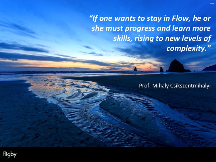 """Prof. Csikszentmihalyi - """"If one wants to stay in Flow, he or she must progress and learn more skills, rising to new levels of complexity."""""""