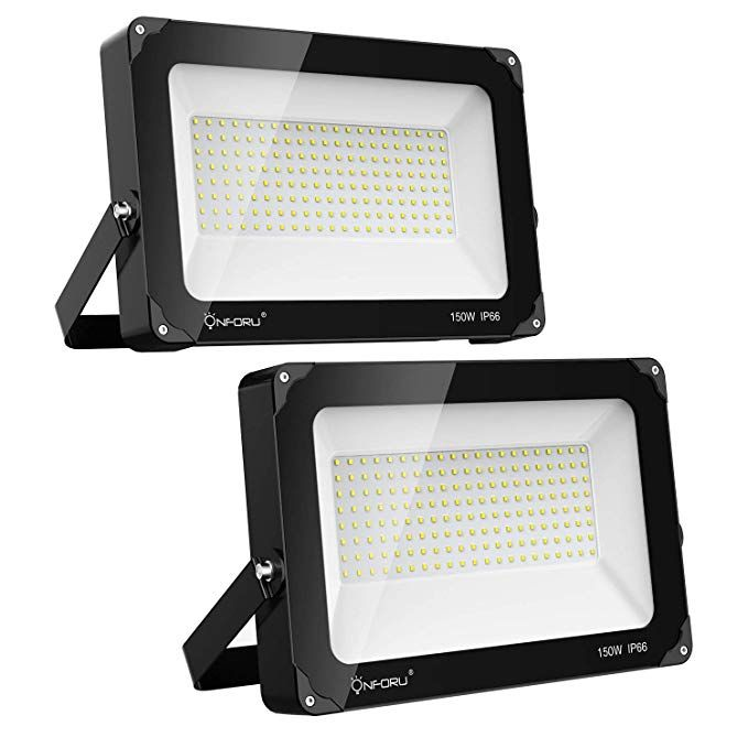 Onforu 2 Pack 150w Led Flood Light 15 000lm 5000k Daylight White Ip66 Waterproof Super Bright Security Lights Outdoor Flood Lights Led Flood Led Flood Lights