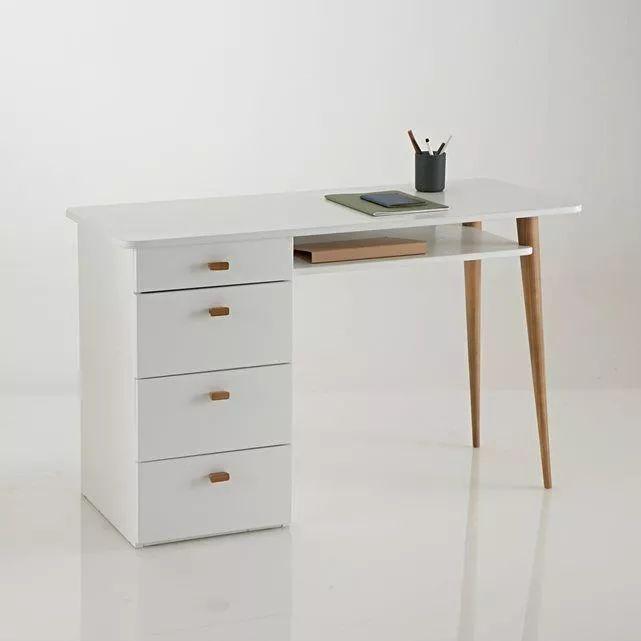 escritorio juvenil melamina blanca y madera maciza.