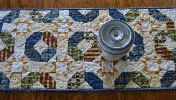 Quilted Table Runner, Country Western Quilt, Southwestern Decor, Masculine Quilt, Quilted Dresser Scarf, Gold Star Runner, Hexagon Table Mat