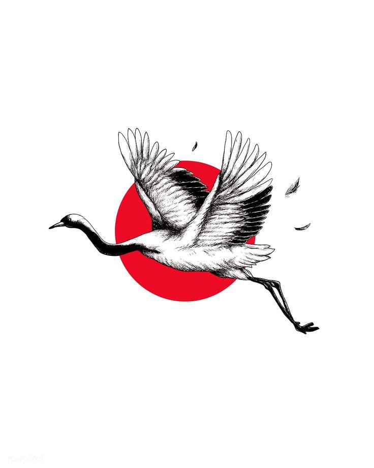 Download premium illustration of japanese crane wall art