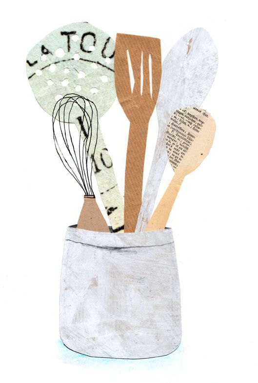 Kitchen utensils in a crock Illustration