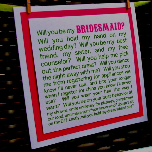 how to ask your bridesmaids funny