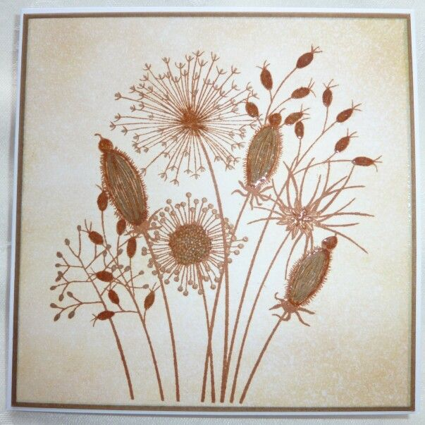 Woodware Going to Seed stamp with distress ink & glossy accents - by Lynne Lee