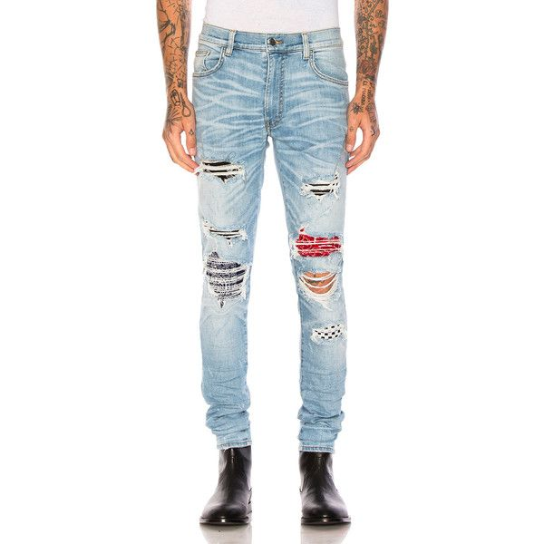 Amiri Art Patch Jeans ($1,350) ❤ liked on Polyvore featuring men's fashion, men's clothing, men's jeans, jeans, mens ripped jeans, mens destroyed jeans, mens torn jeans, mens distressed jeans and mens patched jeans