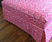 Large Ottoman with Storage Upcycled Furniture in Tuscan Pink