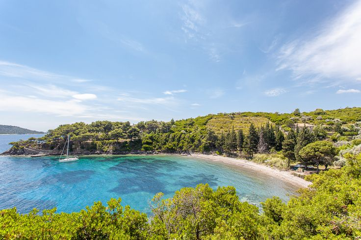 View of the beach from Steni Vala, on Alonissos, the Sporades islands, Greece.