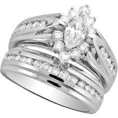 Marquis wedding ring set